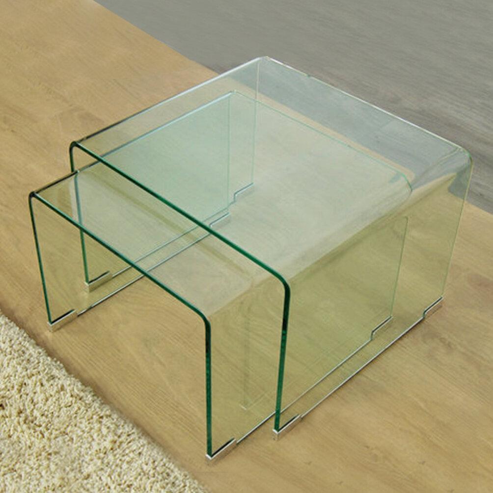 Fab glass and mirror 2 piece clear bent glass nesting tables wayfair watchthetrailerfo