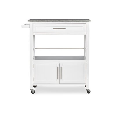 Andover Mills Snow Kitchen Island with Granite Top Base Finish: White