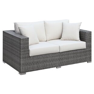 Hilton Faux Rattan Loveseat with Cushions