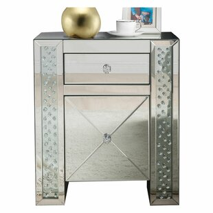 Kateri Mirrored 1 Drawer Nightstand