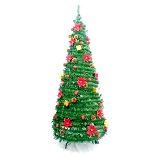 pre decorated instant pop up green pine artificial christmas tree