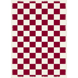 Adabahr Checker Red/White Indoor/Outdoor Area Rug