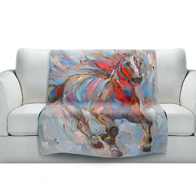 East Urban Home Horse Power I Horses Soft Sherpa Blanket Wayfair