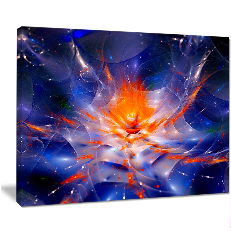 Designart Colorful Glowing Space Flower Fractal Graphic Art On Wrapped Canvas Wayfair
