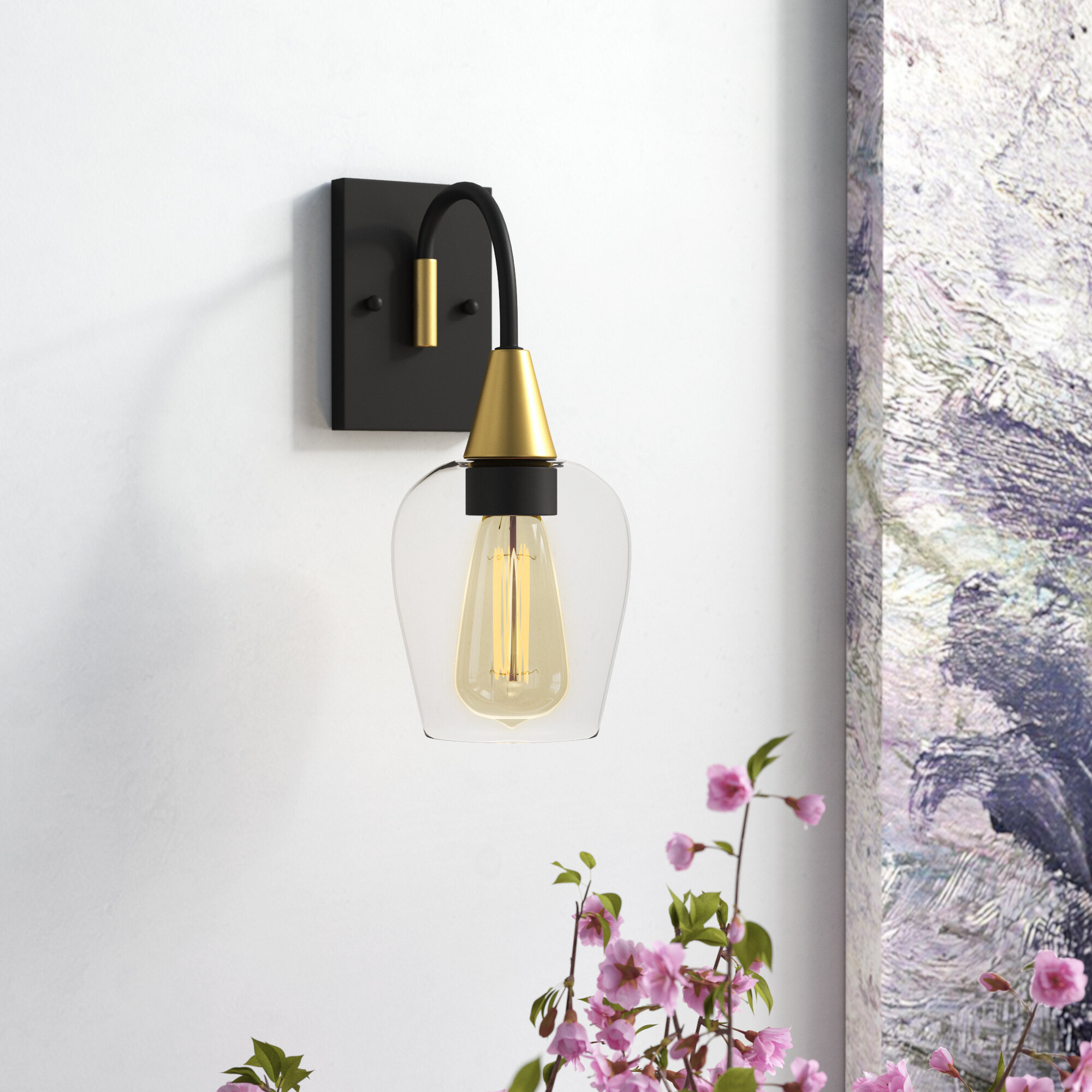 Mercer41 Yeager 1 Light Armed Sconce Wayfair Ca