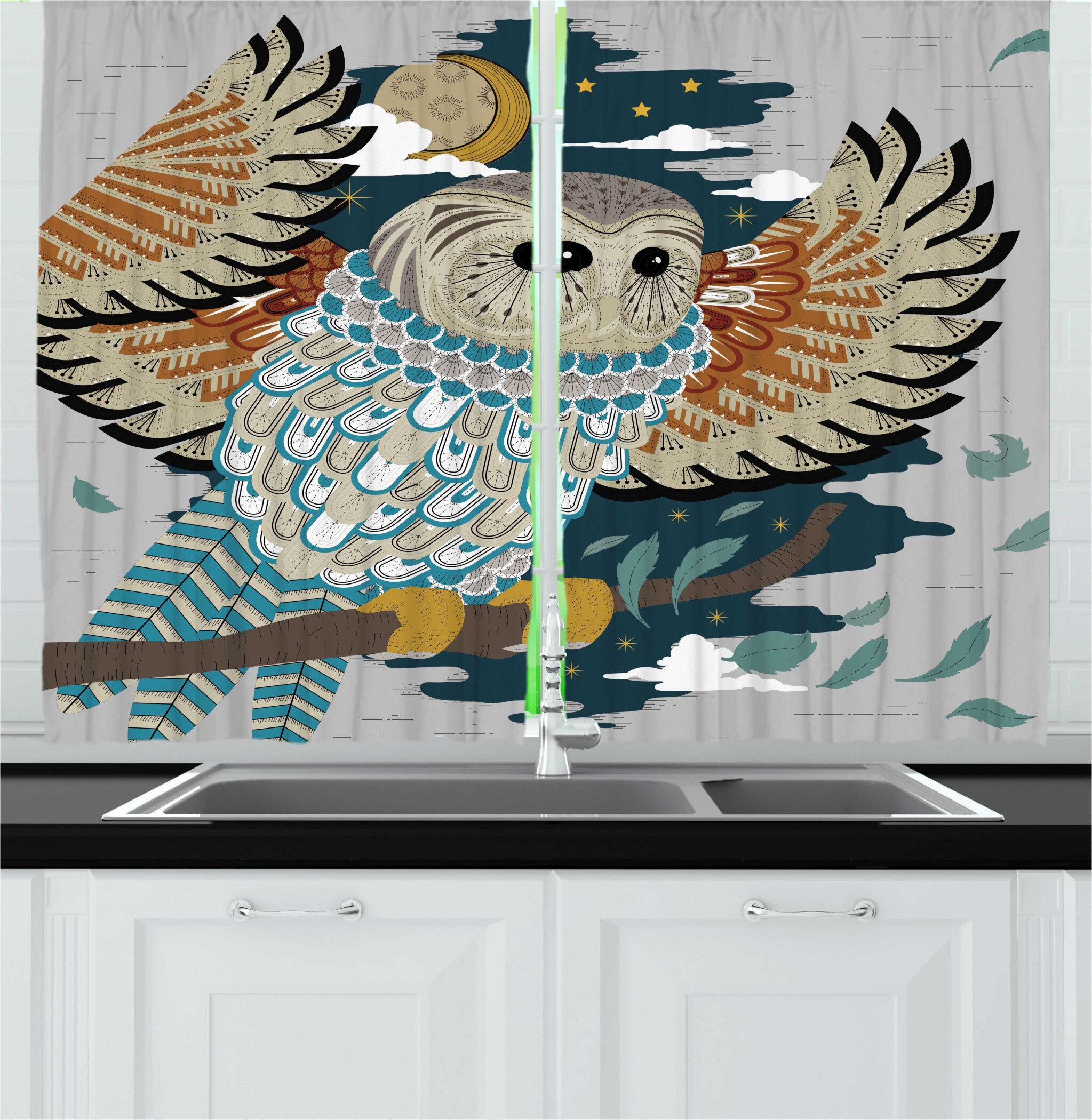 East Urban Home 2 Piece Owl Print Detailed Motifs Bird Moon Tree Starry Night Kitchen Curtain Set Wayfair