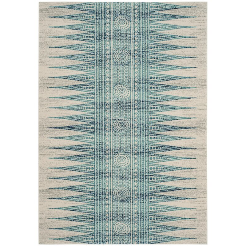 Elson Power Loomed Turquoiseivorynavy Blue Area Rug Reviews