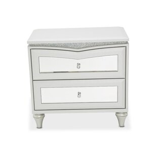 Melrose Plaza Upholstered 2 Drawer Nightstand by Michael Amini