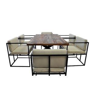 Scena Indoor Outdoor Deep Seated 7 Piece Dining Set by Solis Patio