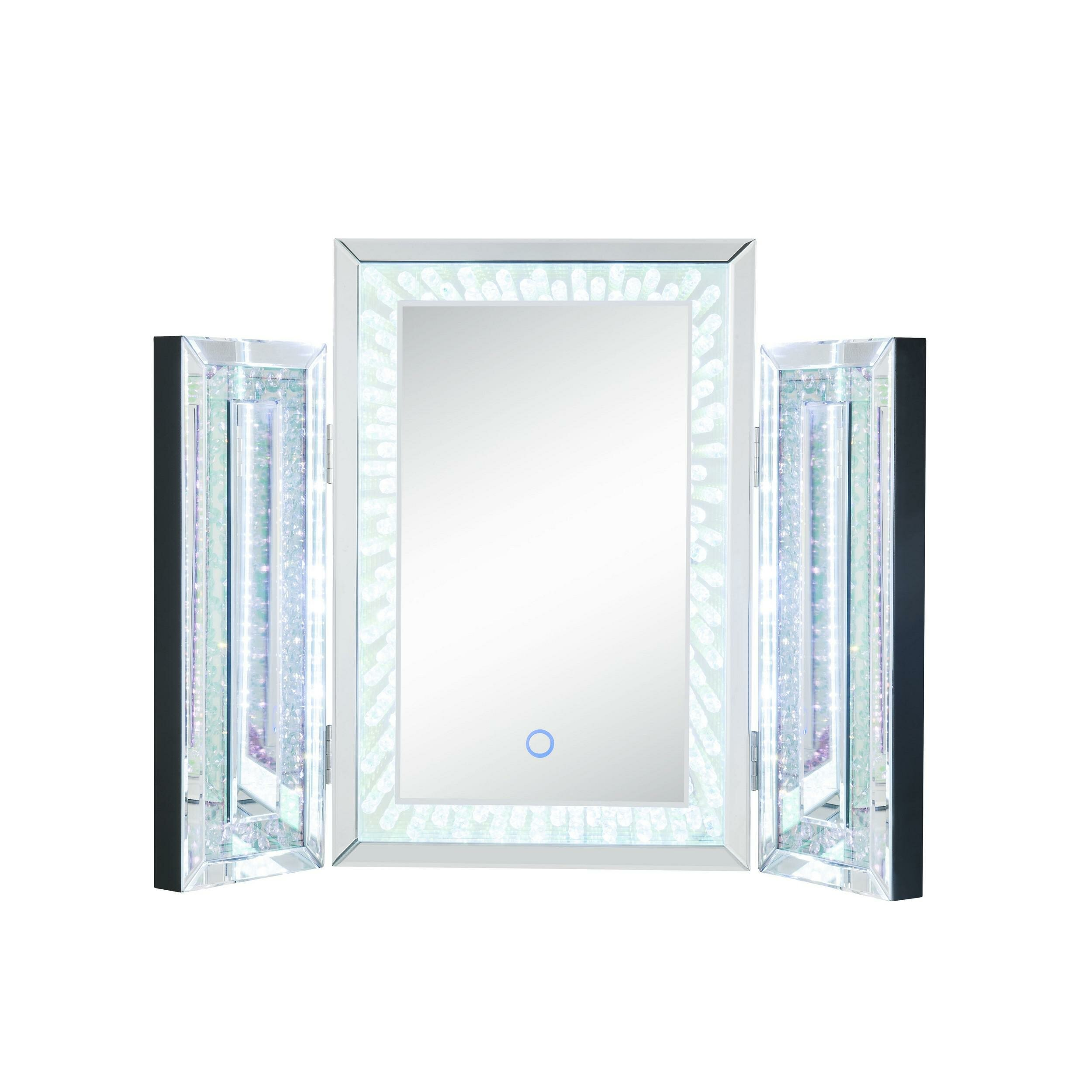 Glam Beveled Lighted Bathroom Mirror