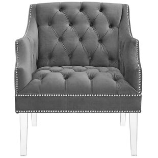 Propst Tufted Button Accent Performance Velvet Armchair by House of Hampton