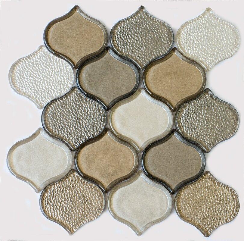 Byzantin Mosaic Peach Glass Mosaic Tile in Champagne & Reviews   Wayfair