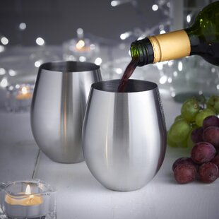 14 oz. Stainless Steel Stemless Wine Glass (Set of 2)