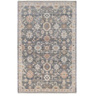 Best Reviews Casco Floral Hand Knotted Charcoal/Taupe Area Rug By Bungalow Rose
