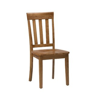 Wallis Slat Back Solid Wood Dining Chair (Set of 2) August Grove