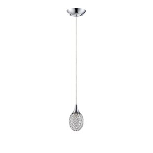 Crys 1-Light Crystal Pendant by Kendal Lighting