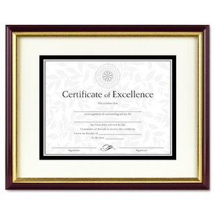 8.5x11, Black//Silver 8.5x11 Black Frame with Silver Beveled Edge- Black over Gold Double Mat with Two Openings- First Dollar Sawtooth Hanger Certificate//License Frame- Easel Stand Wall Mount