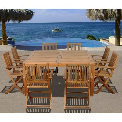 Letona International Home Outdoor 9 Piece Teak Dining Set by Red Barrel Studio New