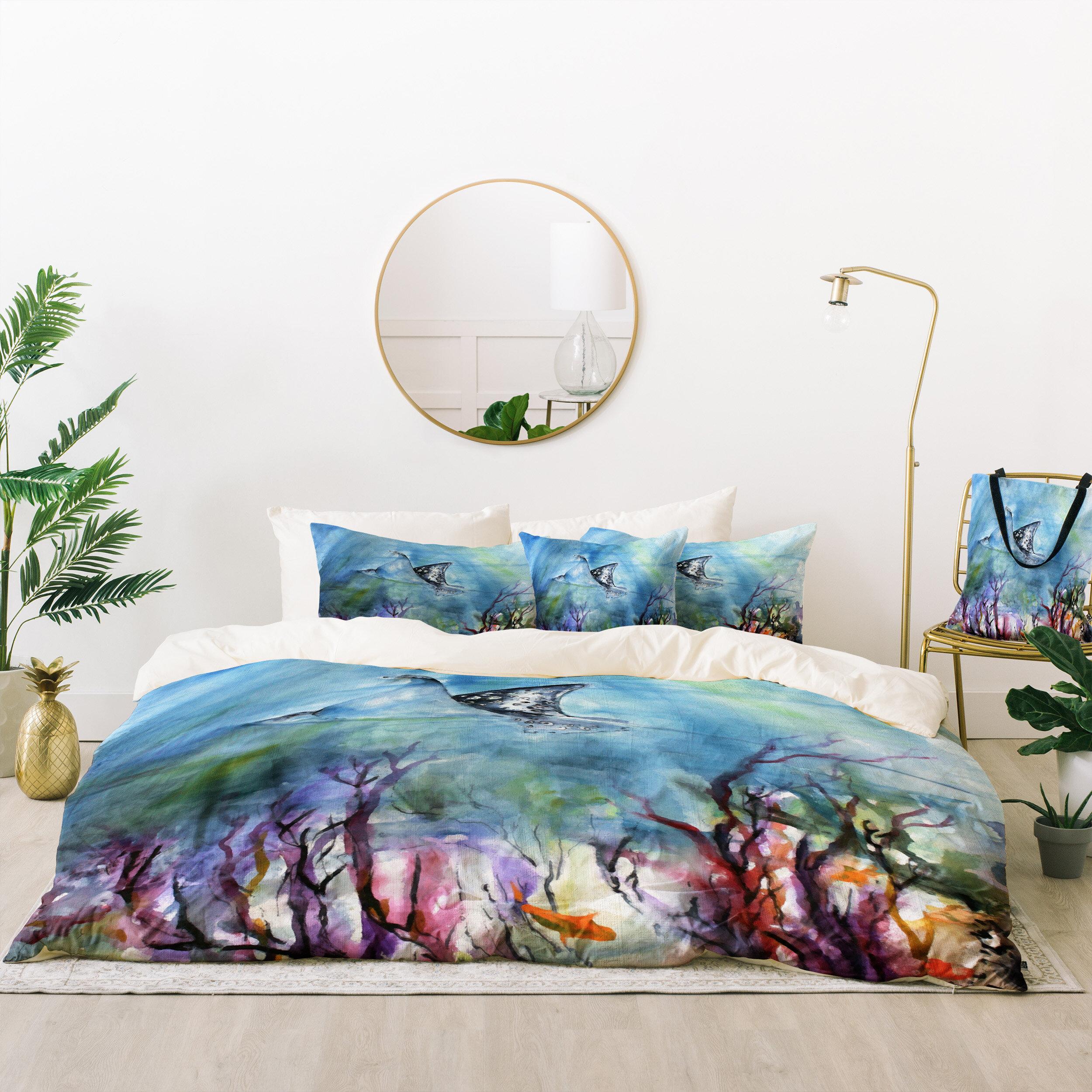 The Pillow Collection Lesly Stripes Bedding Sham Blue Grey European//26 x 26