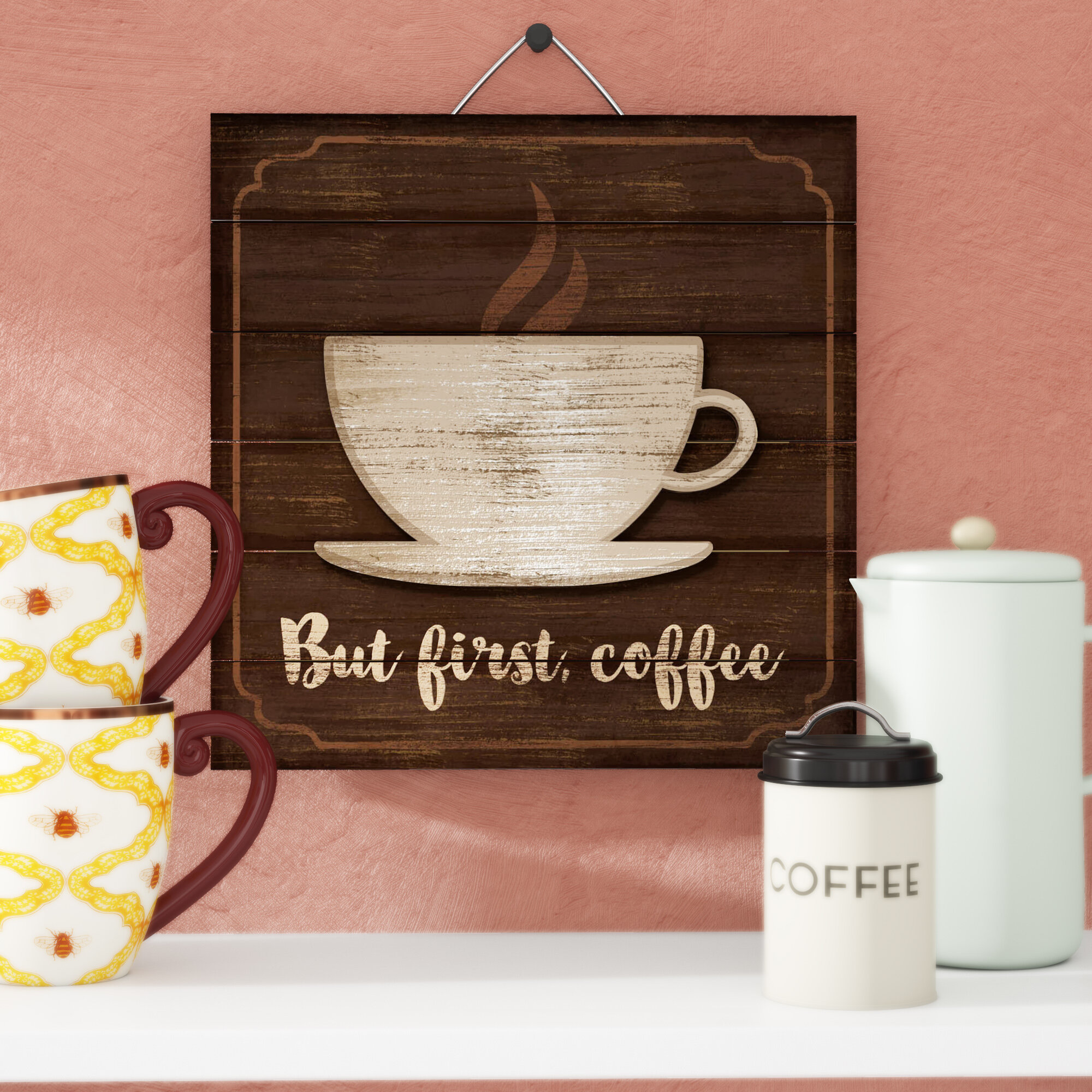 Red Barrel Studio 3d Accent Piece But First Coffee Slatted Pallet