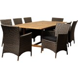 Brighton 9 Piece Teak Dining Set with Cushions