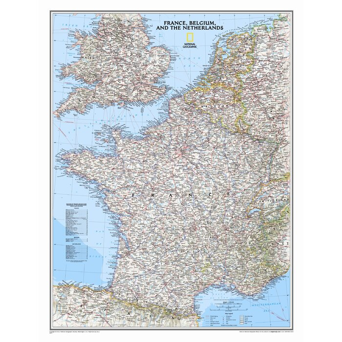 Map Of France Cities And Towns.France Belgium And The Netherlands Classic Wall Map
