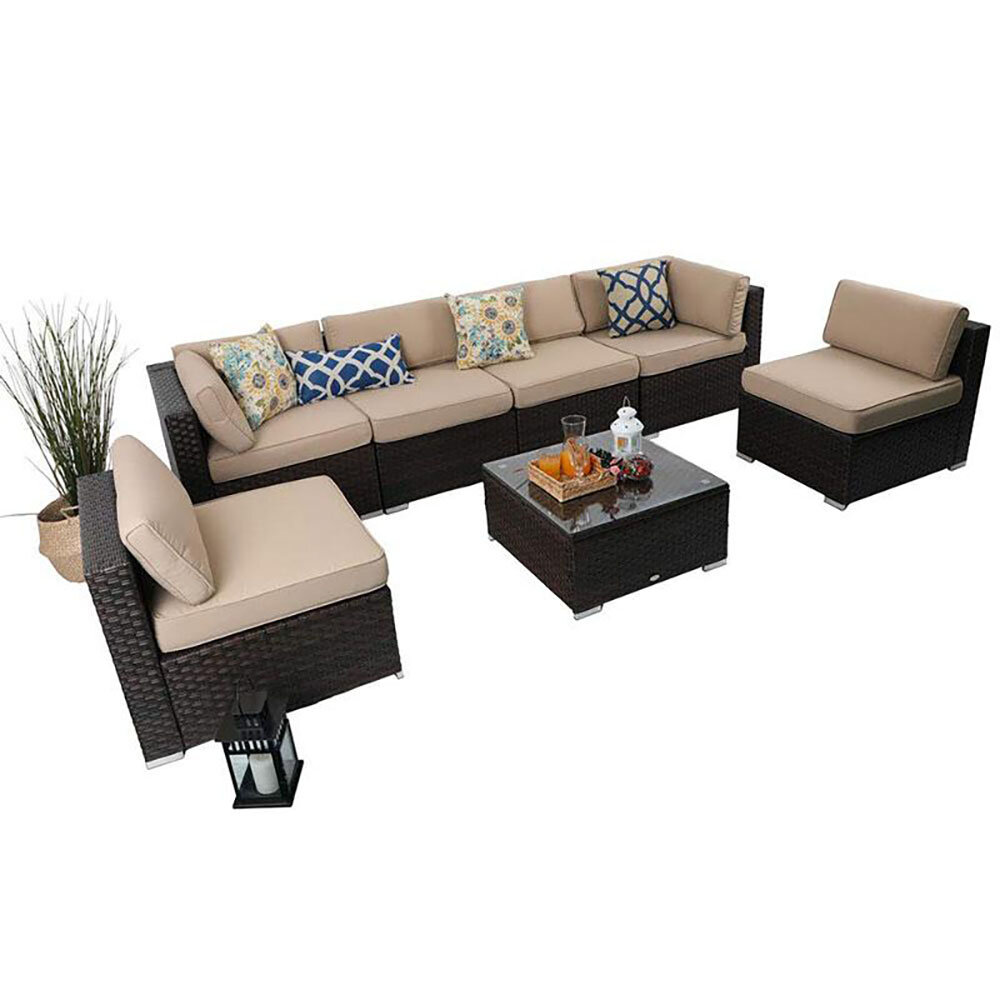 Highland Dunes Connally 7 Piece Rattan Sectional Seating Group With Cushions Reviews Wayfair