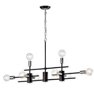 Wrought Studio Brixham Exposed Bulb Linear 8-Light Novelty Chandelier