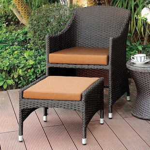 Lesia Patio Chair and Ottoman with Cushions