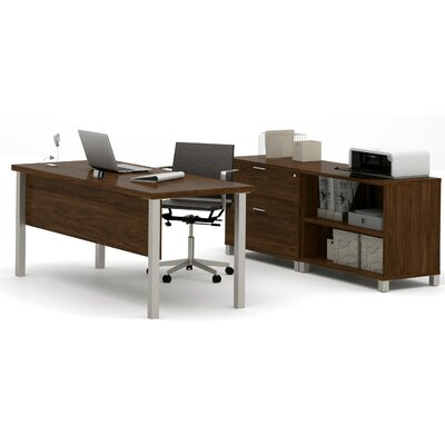Comm Office Heyworth 3-Piece Desk Office Suite Color: Oak Barrel