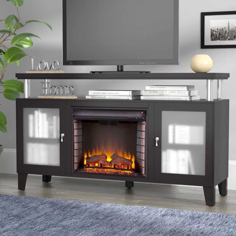 Electric Fireplace tv console with electric fireplace : Red Barrel Studio Yalobusha 60