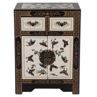 NES Furniture Oriental Antique Style 2 Drawer Nightstand
