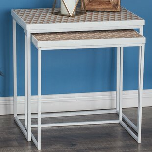 Metal/Wood 3 Piece Nesting Tables