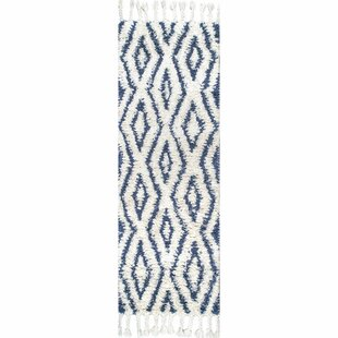Reid Soukey Hand-Knotted Wool Blue/Bright white Area Rug By Bungalow Rose
