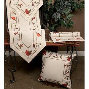 Harvest Vine Crewel Embroidered Harvest Cotton Pillow Cover