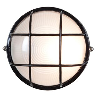 Great Price Flintwood 1-Light Frosted Glass Outdoor Bulkhead Light By Beachcrest Home