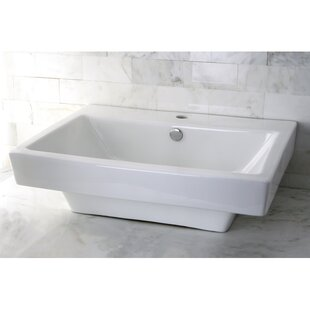 Kingston Brass Plaza Ceramic Rectangular Vessel Bathroom Sink with Overflow