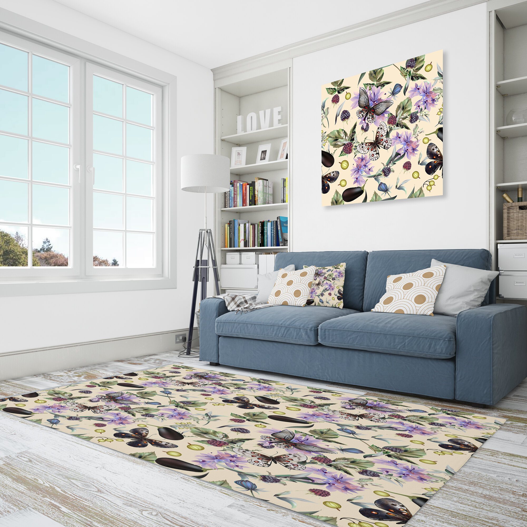 East Urban Home Floral Polyester Black Purple Area Rug Wayfair