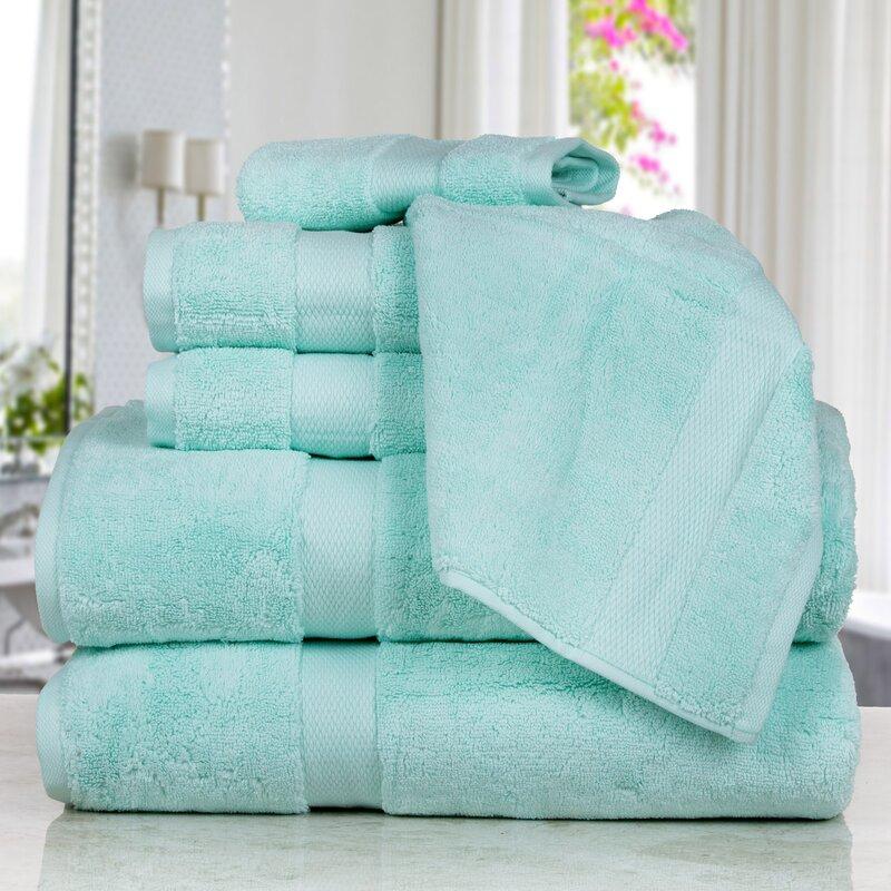 Affinity Linens Madhvi Premium Quality Luxury 6 Piece Cotton Towel Set  Color: Aqua