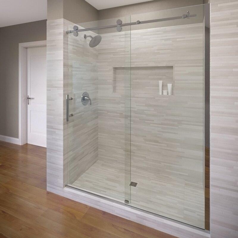 Basco 47 X 76 Single Sliding Fixed Panel Shower Door Wayfair