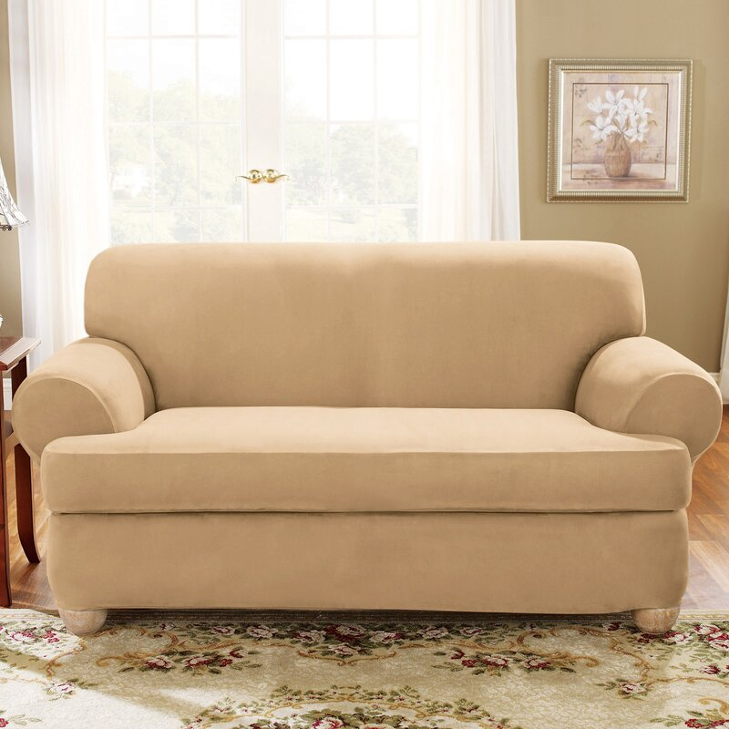 Soft Suede T Cushion Loveseat Slipcover