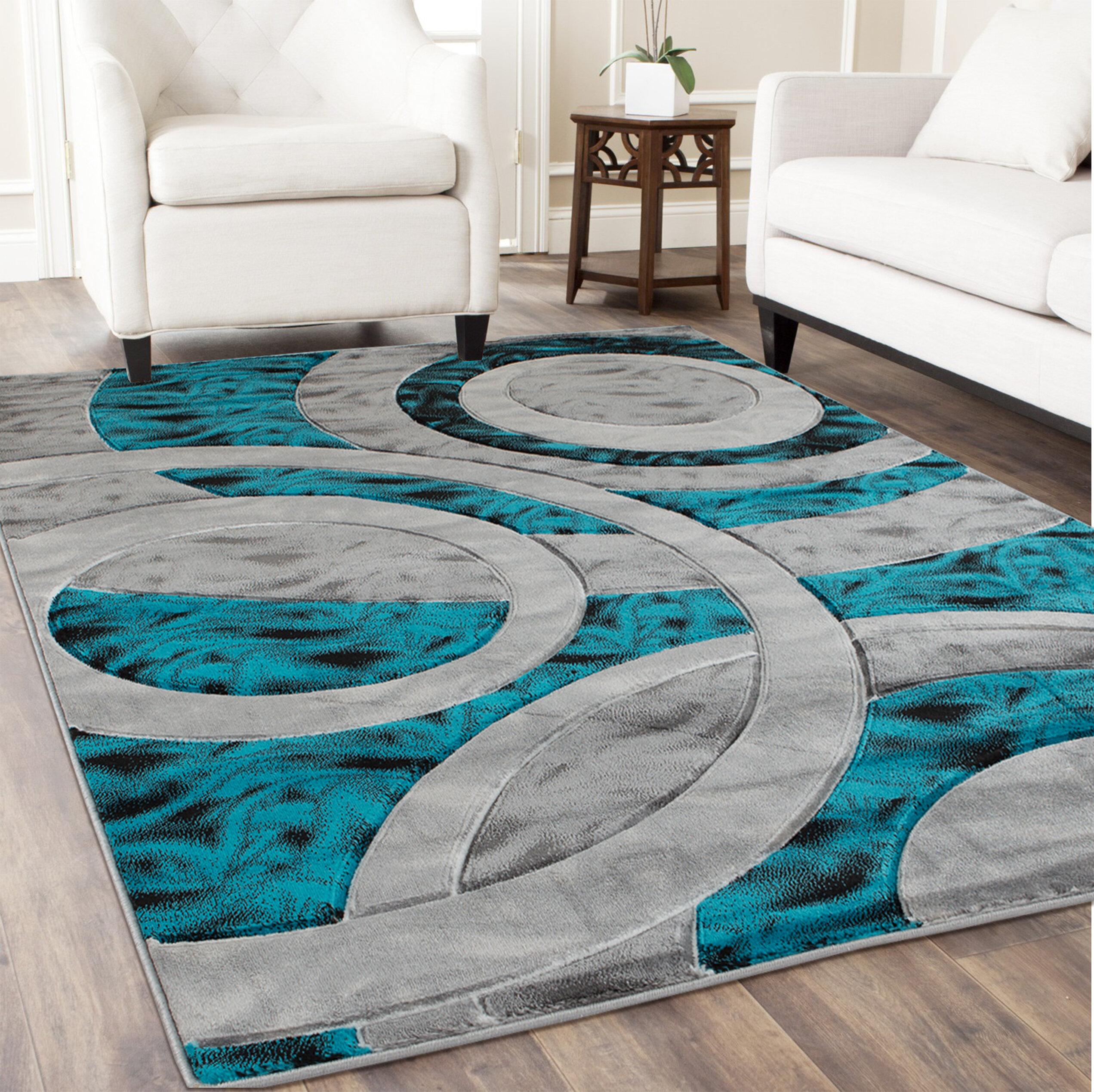 Wrought Studio Adonia Geometric Turquoise Gray Area Rug Wayfair