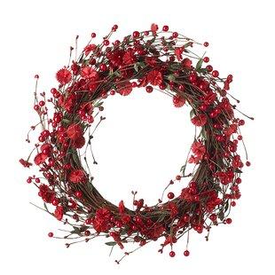 50cm Flower And Berry Christmas Wreath By The Seasonal Aisle