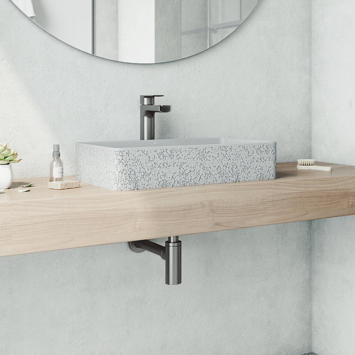Vigo Handmade Dahlia Stone Rectangular Vessel Bathroom Sink With Faucet Reviews Wayfair
