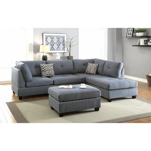 Alcott Hill Charlemont Reversible Sectional with Ottoman & Reviews ...