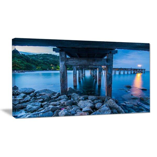 Designart Under Wood Bridge At Twilight Sea Bridge Photographic Print On Wrapped Canvas Wayfair