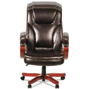 Symple Stuff Devin Transitional Genuine Leather Executive Chair