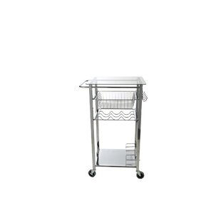 Glass Top Mobile Kitchen Cart Mind Reader