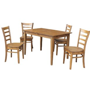 Loon Peak Wellston Butterfly Leaf Extendable 5 Piece Dining Set