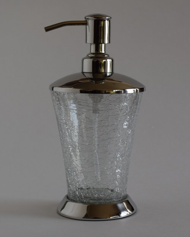 Default nameFashion Home Classic Hand Crafted Crackle Glass Soap Dispenser  . Crackle Glass Bathroom Accessories. Home Design Ideas